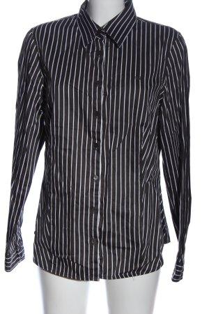 Lerros Chemise à manches longues noir-blanc motif rayé style d'affaires
