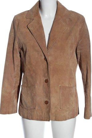 Lerros Veste en cuir brun style décontracté