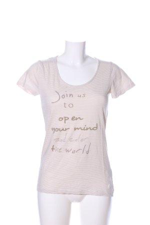 Lerros T-shirt rayé blanc cassé imprimé avec thème style décontracté