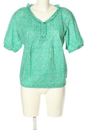Lerros Rüschen-Bluse grün-weiß Allover-Druck Casual-Look