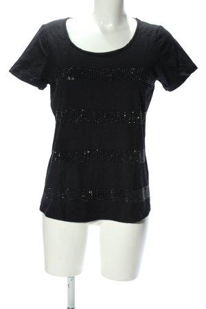 Lerros T-shirt czarny Wzór w paski W stylu casual