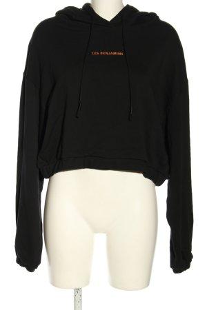 Les Benjamins Kapuzensweatshirt schwarz Schriftzug gestickt Casual-Look