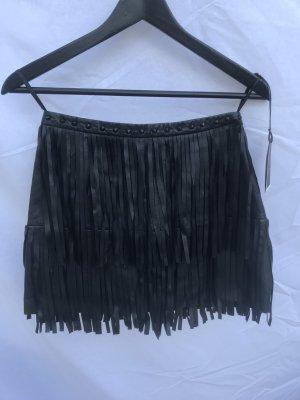 Les Eclaires Spódnica z frędzlami czarny Skóra