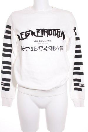 Les Eclaires Sweatshirt weiß-schwarz Schriftzug gedruckt Casual-Look
