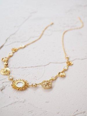 Les Nereides Halskette Mit Perlmutt vergoldet Three Sun Necklace NP 180€