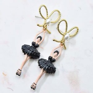 Les Nereides Ohrringe BLACK BALLERINA,GOLD RIBBON AND FEATHER NP 90€