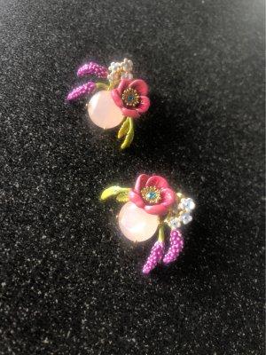 Les Nereides Ohrringe Blumen rosa Quartz rosé Original flroal