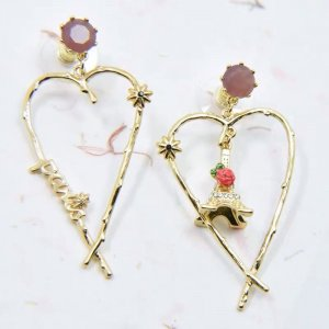 Les Nereides Ohrringe EIFFEL TOWER AND ROSE IN A HEART NP 140€