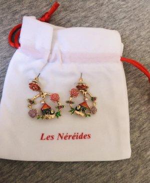 Les Nereides Ohrschmuck gold Vogelhaus Emaille Blume Ohrhänger 14k