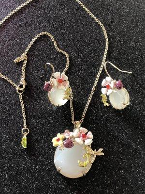 Les Nereides Set Ohrringe & Kette Milchkristall Blumen Maikäfer