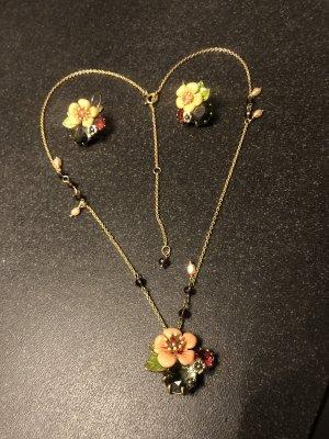Les Nereides Set Ohrringe & Kette Naturperle gold Pfirsischblüte grau Kristall gold Blumen floral