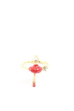 Les Néréides Anillo de cuentas color oro-rojo elegante