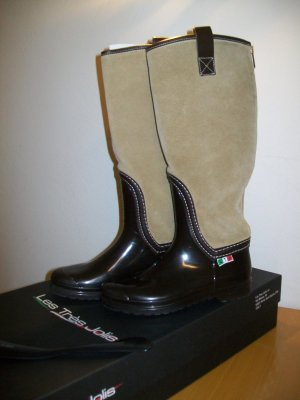 Wellies dark brown-camel leather