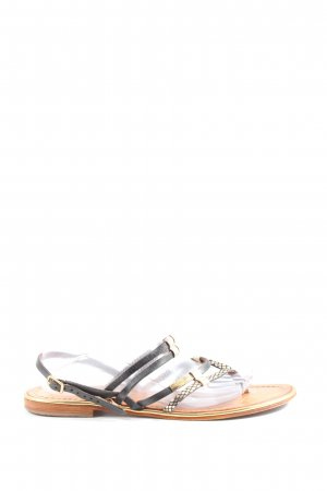 Les Tropéziennes Flip flop sandalen zwart-goud casual uitstraling
