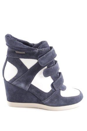 Les Tropéziennes Keil-Stiefeletten blau-weiß Casual-Look