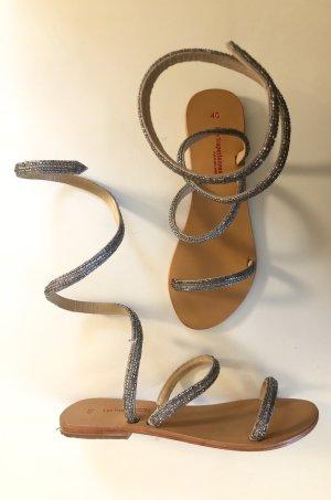 Les Tropéziennes Sandalo romano argento-marrone