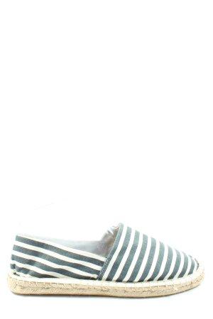 Lesara Berlin Espadryle zielony-biały Wzór w paski W stylu casual