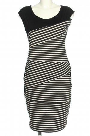 Lesara Etuikleid schwarz-wollweiß Streifenmuster Casual-Look
