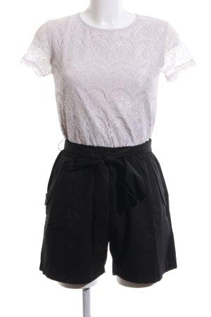 Lesara Jumpsuit weiß-schwarz grafisches Muster Casual-Look