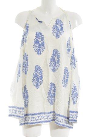 Lesara Langarm-Bluse weiß-blau Allover-Druck Casual-Look