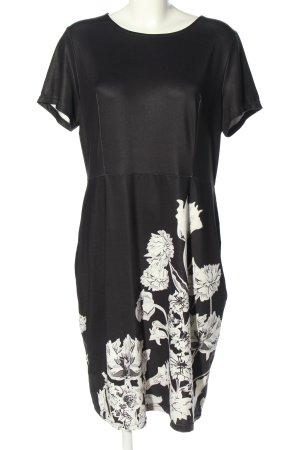 Lesara Robe courte noir-blanc motif de fleur style décontracté