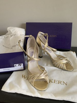 Werner Kern Strapped High-Heeled Sandals gold-colored-silver-colored leather