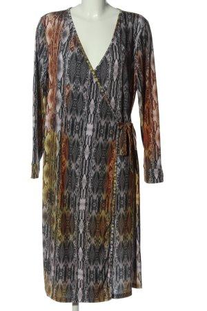Let's dress Midikleid hellgrau-braun abstraktes Muster Casual-Look