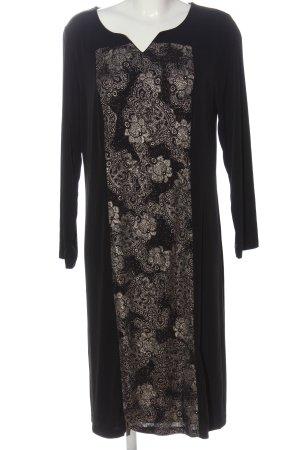 Let's dress Midikleid schwarz-goldfarben grafisches Muster Casual-Look