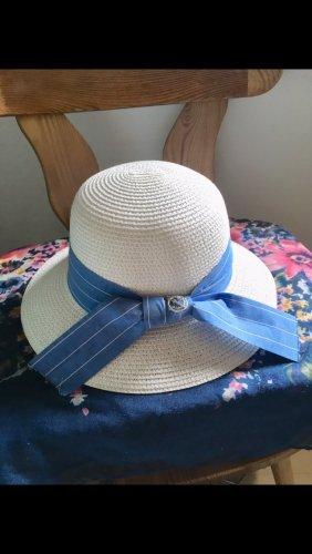 Sombrero de ala ancha blanco-azul aciano