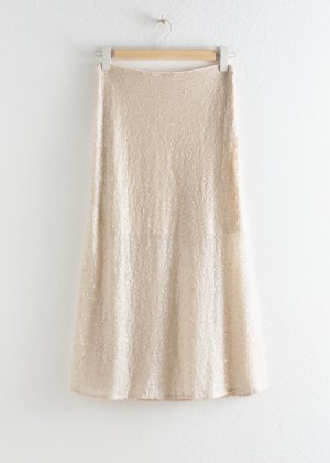 &otherstories Pailetten Midi Rock Creme Nude Beige XS 34