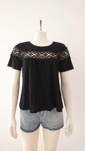 LETZTE CHANCE! Produkt wird in Kürze aus dem Verkauf genommen! Cooles Sommershirt mit Spitze, H&M, schwarz, Größe S (36)