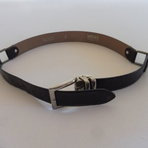 Versace Leather Belt black-silver-colored leather