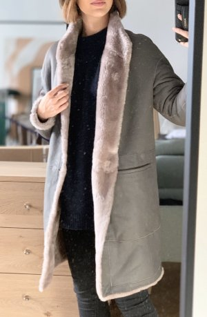 Letzte Reduzierung! 3600€ Lammfell Luxus Jacke Mantel Taupe NEU XS