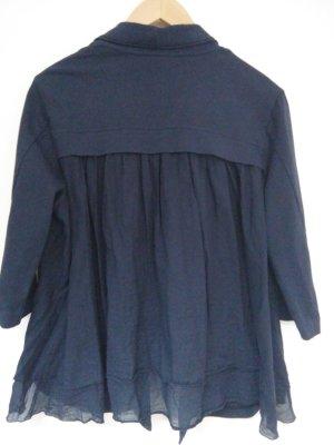 European Culture Chaqueta estilo camisa azul oscuro Algodón