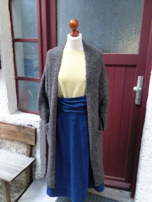 Made in Italy Manteau en tricot gris brun mohair