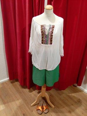 Letzte Reduzierung! Sommersale:-)Bluse im Tunikastil, weiß mit Pailletten, uni Größe - hervorragend!