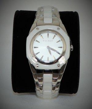 Escada Zegarek z metalowym paskiem biały-srebrny