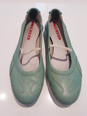 Prada Mary Jane Ballerinas lime-green-pale green leather