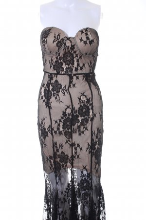 Letzter Preis: Boohoo Spitzenkleid schwarz-creme florales Muster Elegant