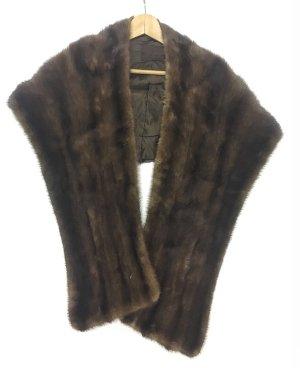 Stuła ciemnobrązowy-czarno-brązowy Futro