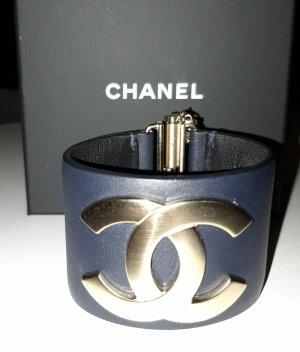 Chanel Lederen armband goud-donkerblauw