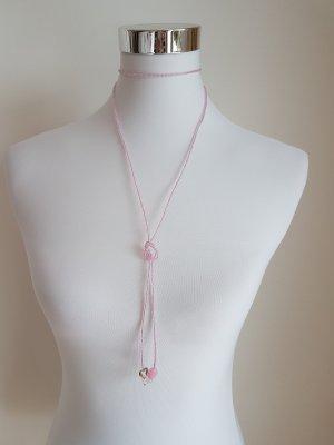*LETZTER PREIS* Collier mit echten Rosenquarz, Silberanhänger und Glasperlen (siehe die dazu passenden Ohrringe aus echtsilber und Rosenquarz)
