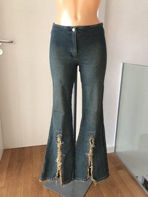 Vintage Jeans flare multicolore coton