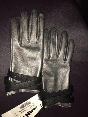 Jil Sander Gants en cuir argenté-noir