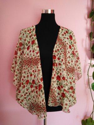 *Letzter Preis* Luftiges Überhängerchen mit Rosen, Blumen, Rot, Grün, Beige (K2)