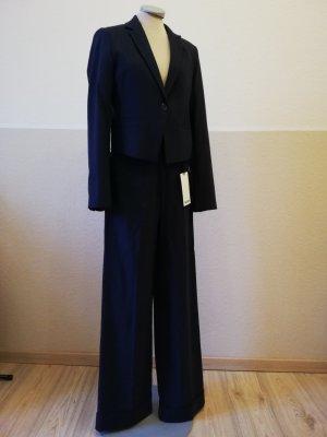 letzter Preis! Mexx Hosenanzug Wolle blau retro Anzug business Blazer Gr. 36 S Tuchhose Hose Marlenehose Gr. 34 XS