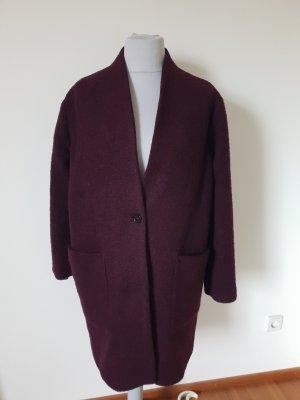 More & More Manteau en laine bordeau-rouge mûre
