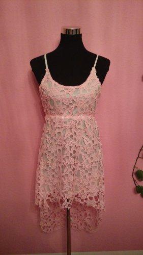 *Letzter Preis* NEU, Luftiges Sommerkleid mit Blumenspitze, Weiß, Rosa (Box 8)