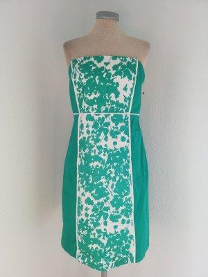 letzter Preis! New York & Company Bandeaukleid grün weiß retro Gr. UK 6 EUR 34 36 neu Baumwolle Kleid retro