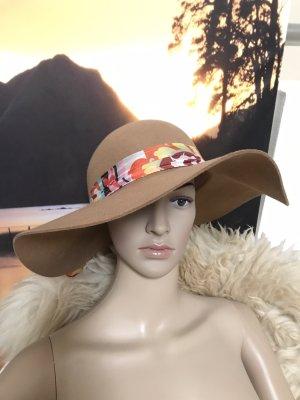 LETZTER PREIS!!! * Schöner beige-brauner Codello Hut * mit buntem Band * 100% Wolle * Neu und ungetragen
